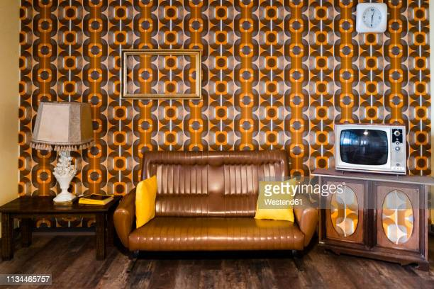 interior of a vintage living room - retro style stock pictures, royalty-free photos & images