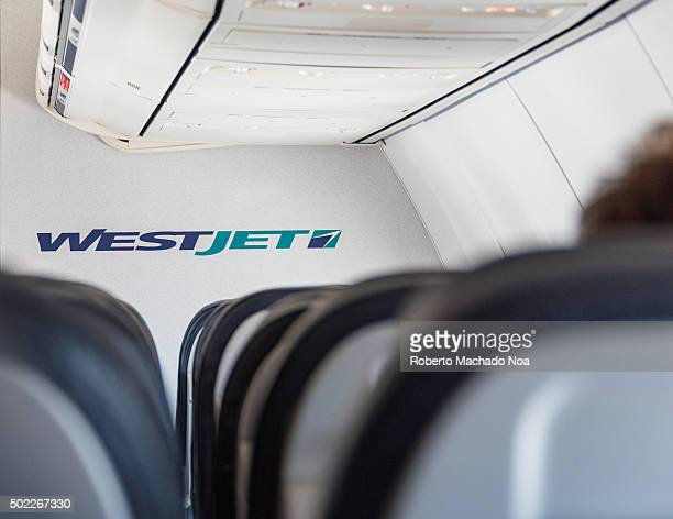 Interior of a Westjet plane WestJet Airlines Ltd is a Canadian lowcost carrier that provides scheduled and charter air service to 100 destinations in...
