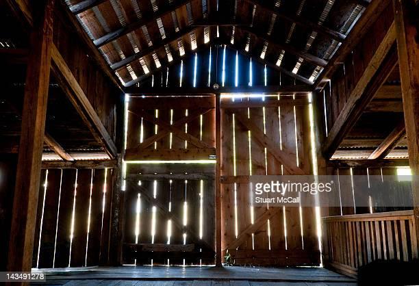 Interior of a wooden barn