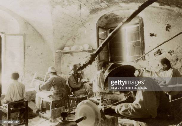Interior of a workshop for processing alabaster, Volterra, Tuscany, Italy, photograph by Corrado Ricci, July-August 1904.