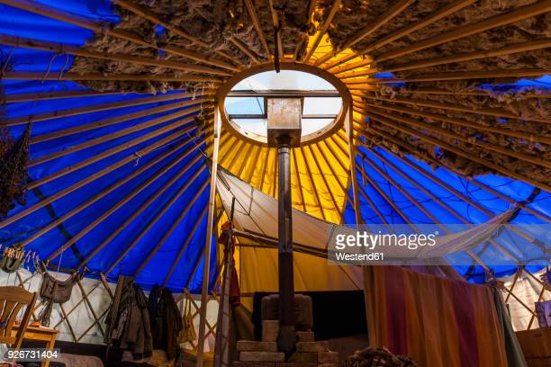 interior of a yurt made of waste material - yurt stock pictures, royalty-free photos & images