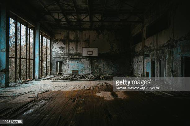 interior of abandoned building - chernobyl stock pictures, royalty-free photos & images
