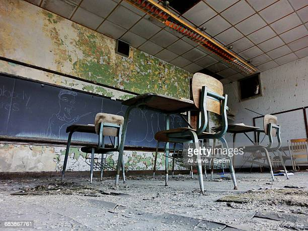 interior of abandoned classroom - run down stock pictures, royalty-free photos & images