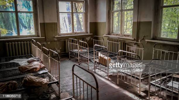 interior of abandoned house - radiation sickness stock photos and pictures