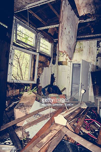 interior of abandoned house - albrecht schlotter stock photos and pictures