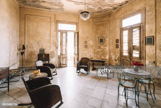 interior of abandoned ornate bedroom in colonial villa - art deco furniture stock pictures, royalty-free photos & images