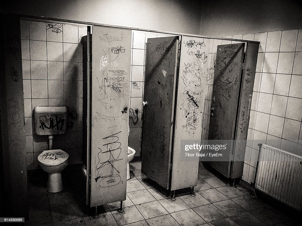 Bathroom Stall In Public Restroom High-Res Stock Photo