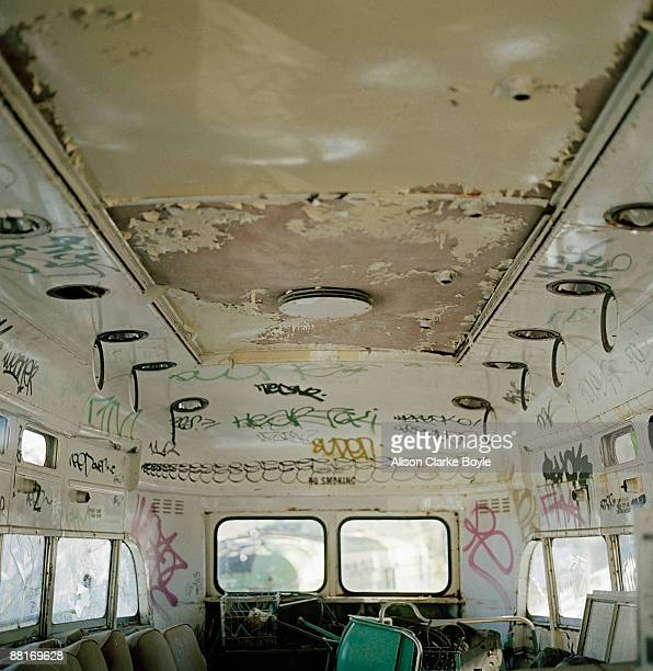 Interior of abandoned trolley