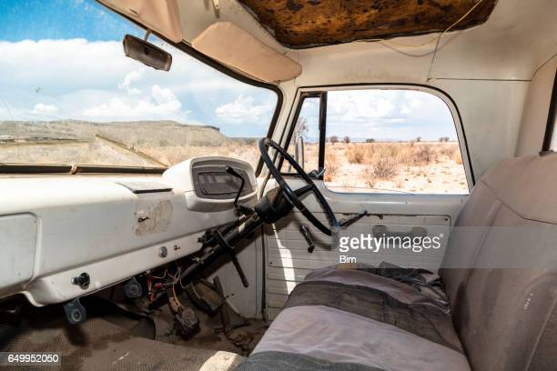 interior of abandoned truck in the desert - vehicle interior stock pictures, royalty-free photos & images
