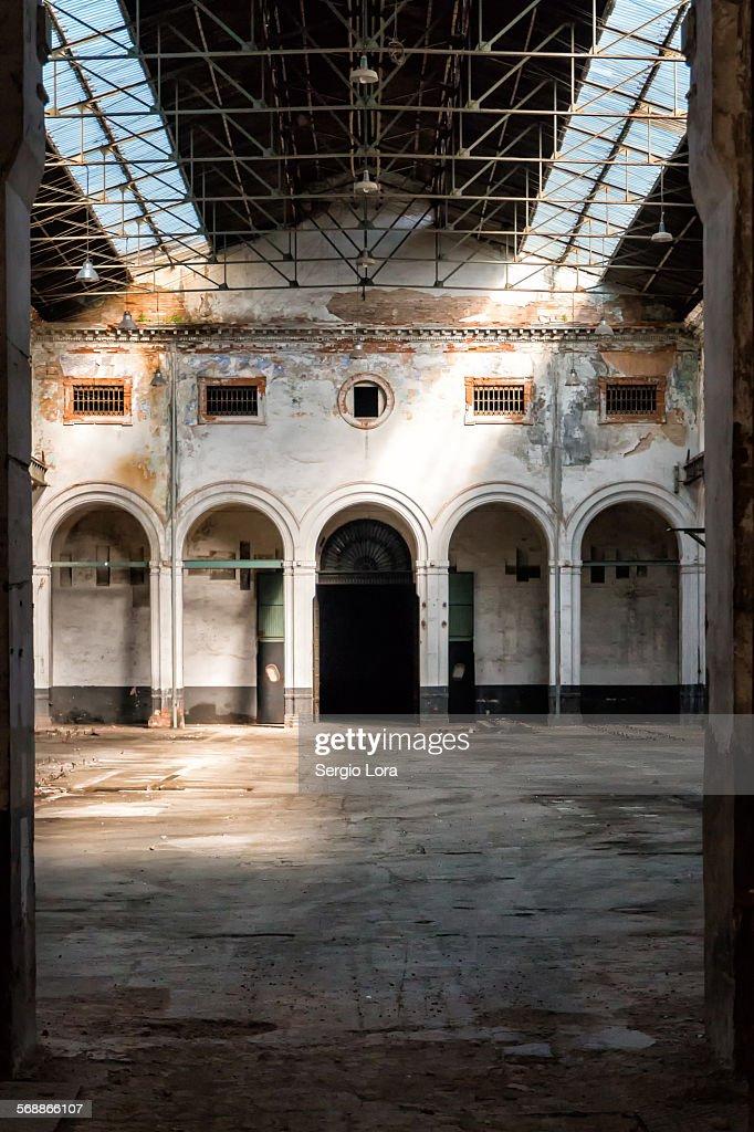 Interior Of Abandoned Warehouse : Stock Photo