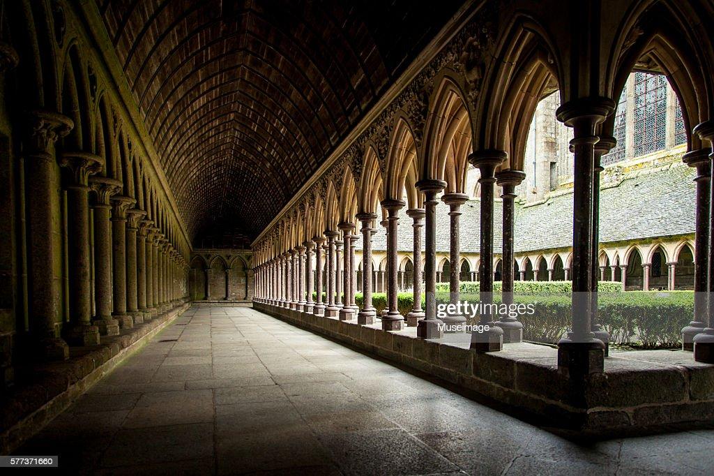 Interior Of Abbatial Church Mont Saintmichel Normandy France Stock