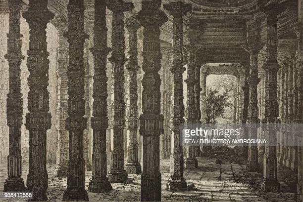 Interior of Adhai Din Ka Jhonpra Mosque Ajmer engraving from India travel in Central India and Bengal by Louis Rousselet