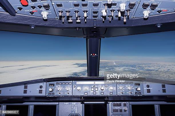 interior of airplane cockpit - cockpit stock pictures, royalty-free photos & images