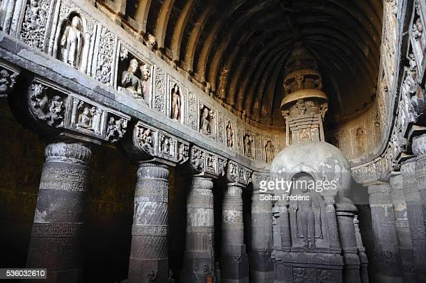 Interior of Ajanta Cave 19