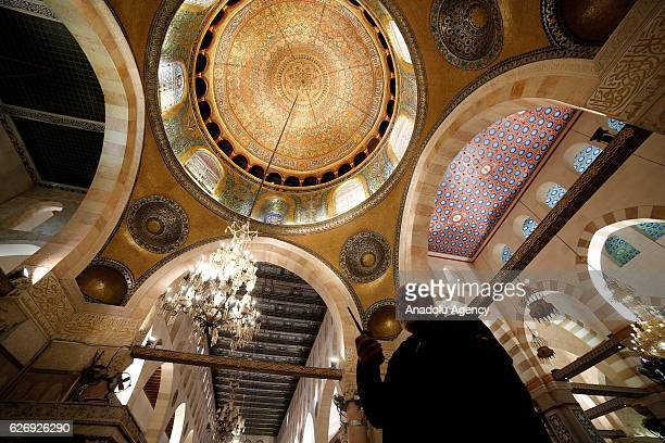 Interior of Al-Aqsa Mosque is seen after its interior restoration works completed in Jerusalem on November 30, 2016. Dome of Rock's interior...