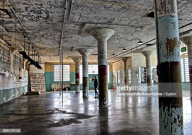 interior of alcatraz federal penitentiary - alcatraz stock photos and pictures