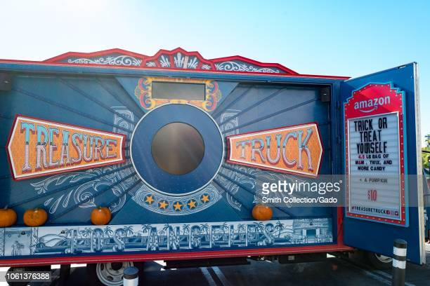 Interior of Amazon Treasure Truck a mobile popup store operated by Amazon as part of the Amazon Prime program parked in a shopping development in the...