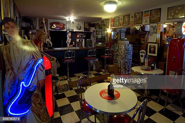 Interior of American 1950s diner restaurant along the Route 66 at the general store of the ghost town Hackberry in Arizona US