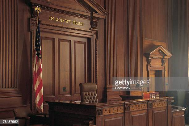 interior of american courtroom - courtroom stock pictures, royalty-free photos & images
