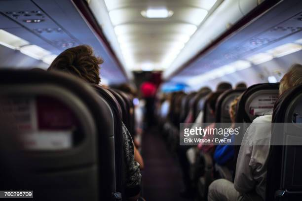 interior of an airplane - aeroplane stock photos and pictures