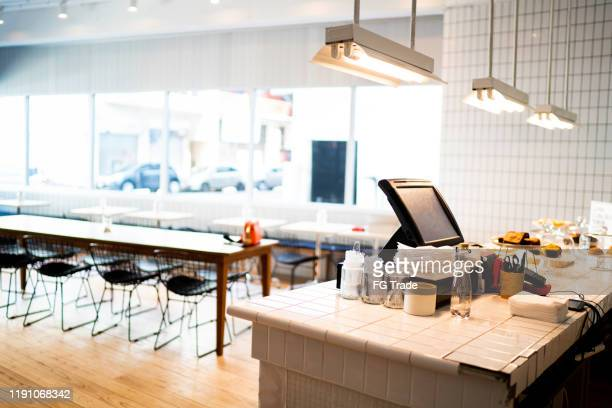 interior of an empty coffee shop - canteen stock pictures, royalty-free photos & images