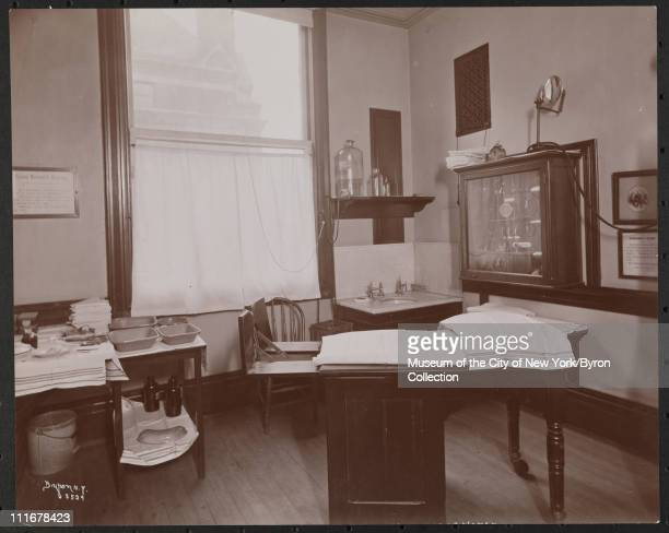 Interior of an examination room at the Vanderbilt Clinic at 59th Street and Amsterdam Avenue, New York, New York, late 1890s.