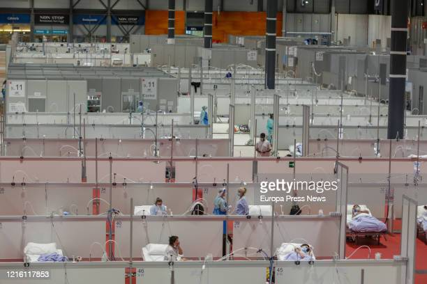 Interior of an IFEMA pavilion fitted out as a temporary hospital for patients with coronavirus, on March 31, 2020 in Madrid, Spain.