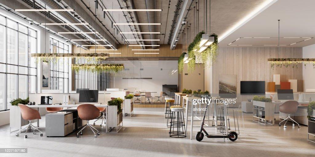 Interior de un espacio de oficina de planta abierta : Foto de stock