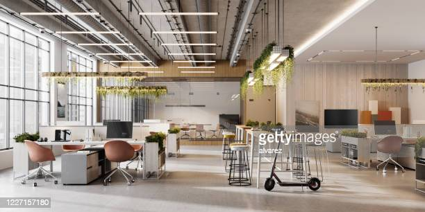 interior of an open plan office space - office stock pictures, royalty-free photos & images