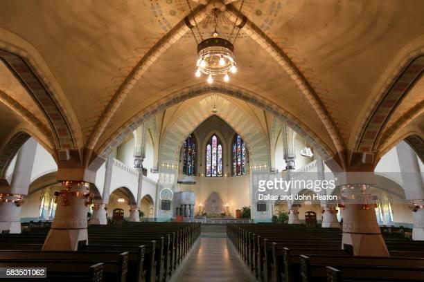 interior of archangel michael's church designed by lars sonck - turku finland stockfoto's en -beelden