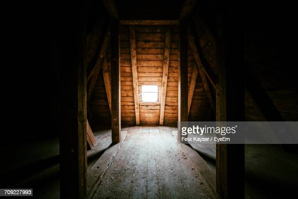 Interior Of Attic In Wooden House