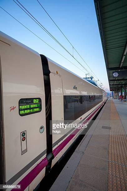 interior of ave train, malaga, spain - alta velocidad espanola stock pictures, royalty-free photos & images