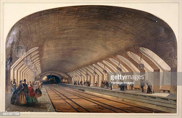 Interior of Baker Street Station showing platforms and an approaching train London c1865 The Metropolitan Line was the world's first underground...