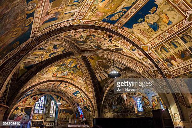 interior of basilica of san francesco, assisi - umbria stock pictures, royalty-free photos & images