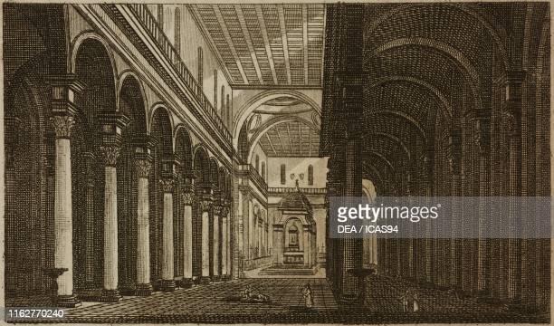 Interior of Basilica of Santo Spirito Florence Italy engraving from Guida della citta di Firenze ornata di pianta e vedute Florence