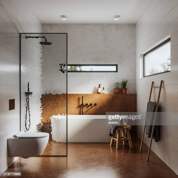 interior of bathroom in 3d - toilet planter stock pictures, royalty-free photos & images