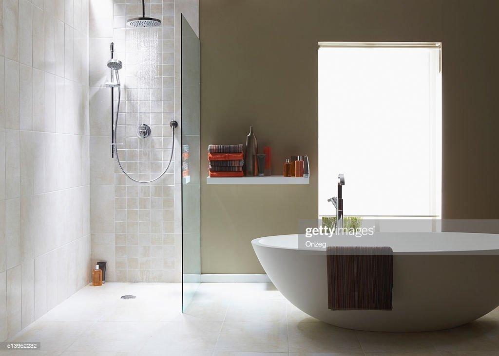 Intérieur de la salle de bains dans une course verte avec douche : Photo