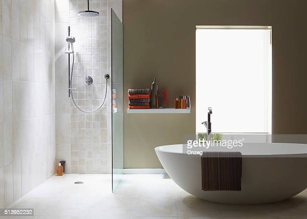 interior of bathroom in cool green with a running shower - bathroom stock photos and pictures