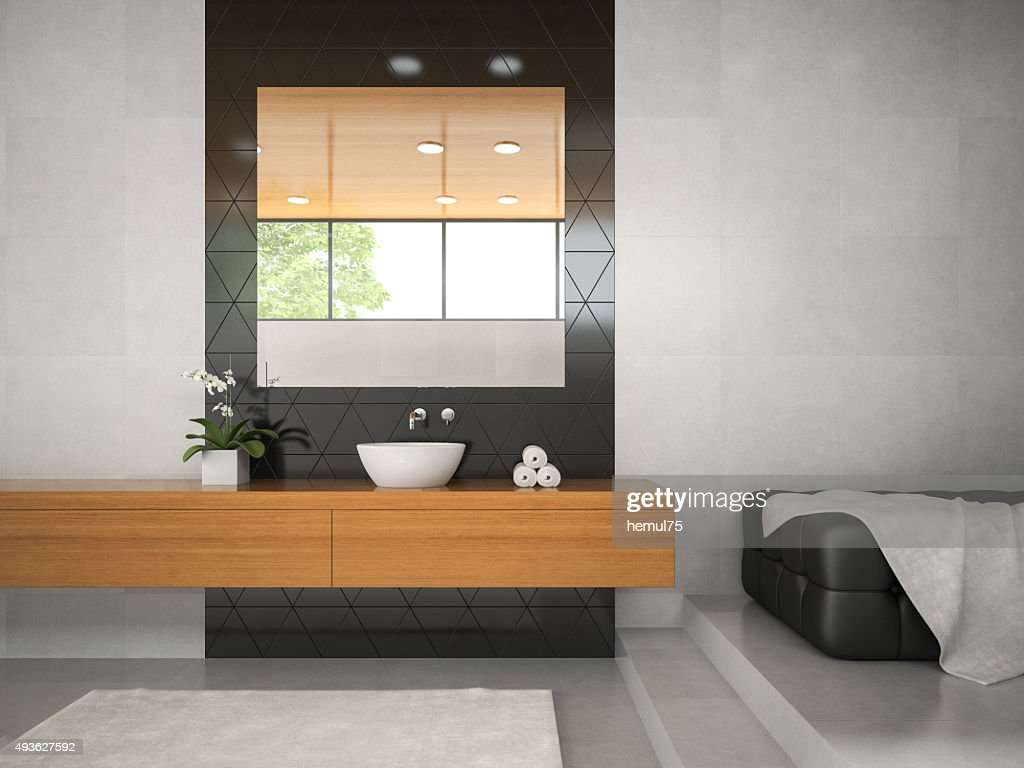 Innenansicht Badezimmer Mit Holzdecke 3d Abbildung 3 Stock Foto Getty Images