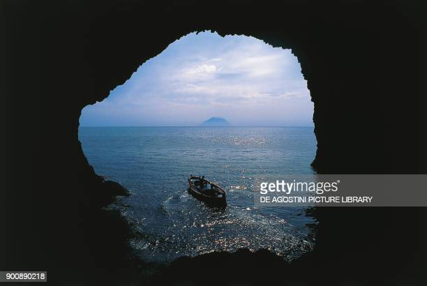 Interior of Bue Marino Cave Filicudi island Aeolian or Lipari Islands Sicily Italy