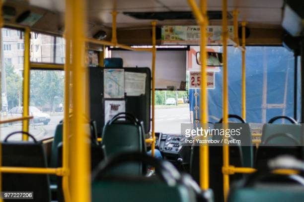 interior of bus in city - kyiv stock pictures, royalty-free photos & images