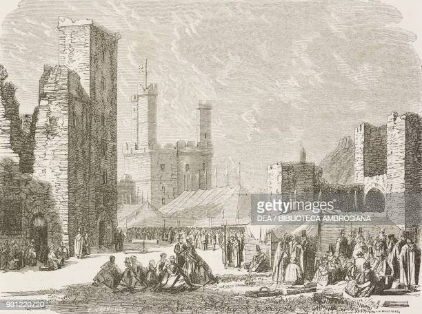 Interior of Caernarfon castle Wales drawing by Pierre Eugene Grandsire from a sketch by Erny from Travels in Wales by Alfred Erny United Kingdom from...