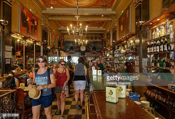 Interior of 'Caf A Brasileira' on Rua Garrett Chiado neighborhood on August 16 2016 in Lisbon Portugal This caf and restaurant founded in 1905 is a...