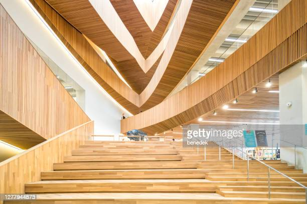 interior of calgary central library alberta canada - calgary alberta stock pictures, royalty-free photos & images