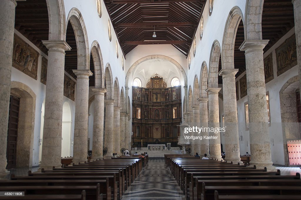 interior of cathedral in the walled city of cartagena pictures