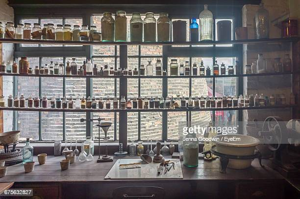 Interior Of Chemicals On Shelves In Laboratory
