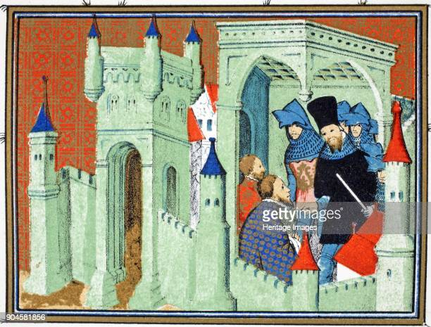Interior of Chester Castle when the Dukes of Exeter and Surrey deliver the King's message to the Duke of Lancaster facsimile copy from Le Prinse et...