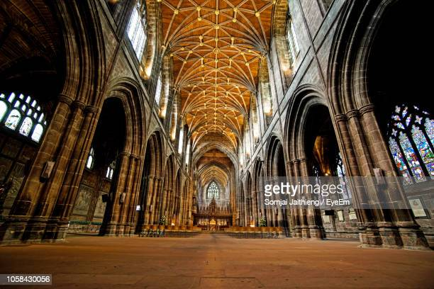 interior of chester cathedral - cathedral stock pictures, royalty-free photos & images