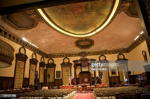 interior of city council chamber, city hall, new york, ny - mayor stock pictures, royalty-free photos & images