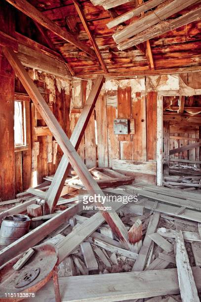 interior of collapsing wooden shack - shack stock pictures, royalty-free photos & images